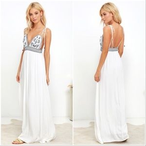 NWT Lulus Days of Sunlight Embroidered Maxi Dress